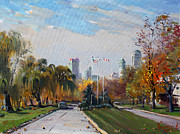 Falls Painting Originals - Autumn in Niagara Falls State Park by Ylli Haruni