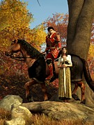 Romantic Art Digital Art Posters - Autumn Knight Poster by Daniel Eskridge