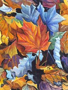 Earth Tones Drawings Prints - Autumn Leaves of Red and Gold Print by Carol Wisniewski