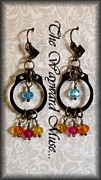 Gold Earrings Painting Originals - Autumn Skies by Jan  Brieger-Scranton