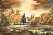 Watercolours Posters - Autumn Sky No W103 Poster by Kip DeVore