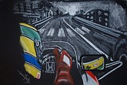 Helmet  Pastels Prints - Ayrton Senna on board at Monaco 89 Print by Juan Mendez