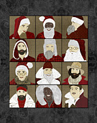 Father Christmas Prints - Baby Daddy Santa  Print by Janet Carlson