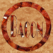 Savory Framed Prints - Bacon Typography 2 Framed Print by Andee Photography