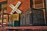 Belongings Posters - Baggage Pickup At The Railroad Depot Poster by Thomas Woolworth