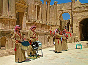 Bagpipers Framed Prints - Bagpipers Band in Roman Amphitheater of Jerash-Jordan Framed Print by Ruth Hager