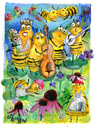Singing Mixed Media Originals - Ballad of the Bees by Vrindaji Bowman