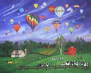 Sports Art Painting Originals - Balloon Race One by Linda Mears