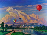 Balloon Fiesta Paintings - Ballooning on the Rio Grande by Art James West