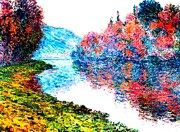 Woodland Scenes Mixed Media Prints - Banks Seine River at Jenfosse France  Print by Claude Monet - L Brown