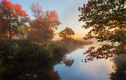 Autumn Trees Prints - Bantam River Sunrise Print by Bill  Wakeley