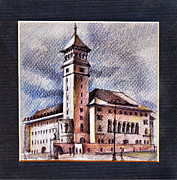 Hall Drawings Prints - Banu Manta city hall of Bucharest Print by Daliana Pacuraru