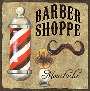 Mustache Painting Prints - Barber Shoppe 1 Print by Debbie DeWitt