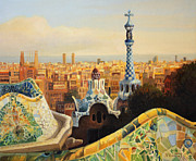 Illustration Framed Prints - Barcelona Park Guell Framed Print by Kiril Stanchev