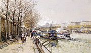 Engineering Painting Framed Prints - Barges on the Seine Framed Print by Eugene Galien-Laloue