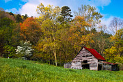 Autumn Scenes Metal Prints - Barn Colors Metal Print by Debra and Dave Vanderlaan