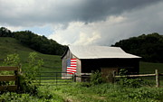 Rolling Doors Posters - Barn in the USA Poster by Karen Wiles