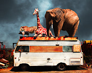 Barnum And Bailey Prints - Barnum and Bailey Goes On a Road Trip 5D22705 Print by Wingsdomain Art and Photography