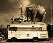 Ringling Brothers Posters - Barnum and Baileys Fabulous Road Trip Vacation Across The USA Circa 2013 5D22705 sepia with text Poster by Wingsdomain Art and Photography