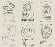 Baseball Artwork Drawings Posters - Baseball Mitt Glove Patent Collection Poster by PatentsAsArt