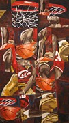 Lebron James Painting Framed Prints - Basketball Framed Print by Caitlin  Solan