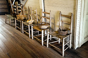Ladder Back Chairs Photo Metal Prints - Baskets on Ladder Back Chairs Metal Print by Lynn Palmer