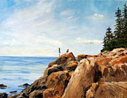 Lee Piper Art Prints - Bass Harbor Rocks Print by Lee Piper