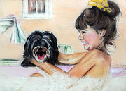 Puppy Mixed Media - Bath Time by Melanie Alcantara Correia