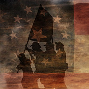Confederate Flag Digital Art Prints - Battle Flag Silhouette 1st of Three Print by Randy Steele
