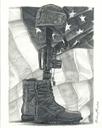 Troops Drawings Prints - Battlefield Cross Print by Melena Paradee