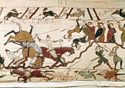 Tapestries Textiles Prints - Bayeux Tapestry. 1066-1077. Scene Print by Everett