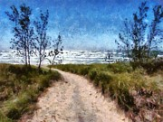 Cloudscape Digital Art Posters - Beach Path Poster by Michelle Calkins