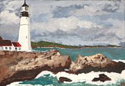 New England Lighthouse Painting Prints - Beacon of Love Print by Cynthia Morgan