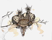 Edward Gorey Prints - Bearded Fluff Hoot Print by Lisa Stevens