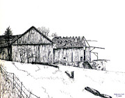 Barn Pen And Ink Drawings Prints - Bearing Its Bones Print by William  Clark