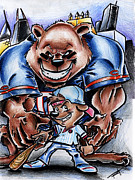 Chicago Baseball Drawings - Bears and Cubs by Big Mike Roate