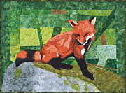 Patchwork Quilt Tapestries - Textiles Posters - Bella the Fox Poster by Patty Caldwell