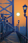 Franklin Posters - Ben Franklin Bridge Walkway Poster by Bill Cannon