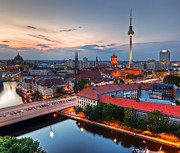 Berlin Germany Posters - Berlin Germany major landmarks at sunset Poster by Michal Bednarek