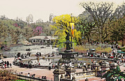 New York City Landscape Posters - Bethesda Fountain Central Park NYC Poster by Linda  Parker