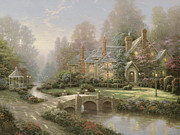 Spring Painting Framed Prints - Beyond Spring Gate Framed Print by Thomas Kinkade