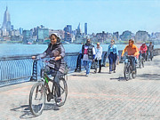 Riding Prints - Bicycles - Bicycling Along Pier A Hoboken NJ Print by Susan Savad