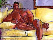 African American Male Painting Posters - Big Brown Poster by Douglas Simonson
