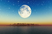 Silhouette Digital Art - Big Full Moon Behind Island by Aleksey Tugolukov
