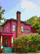 Savannah Architecture Posters - BIG PINK Savannah GA Poster by William Dey