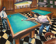 Hall Pastels Posters - Billiard Hall Poster by Michael Foltz