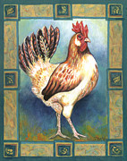 Folk Art Framed Prints - Billy the Rooster Framed Print by Linda Mears