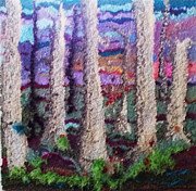 Birch Trees Tapestries - Textiles - Birch Trees 2 by Rosalyn Kliot