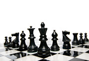 Chess Photos - Black Chess Pieces by Oscar Gutierrez