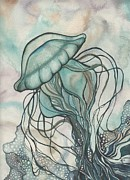 Blue Mushrooms Prints - Black Lung Green Jellyfish Print by Tamara Phillips